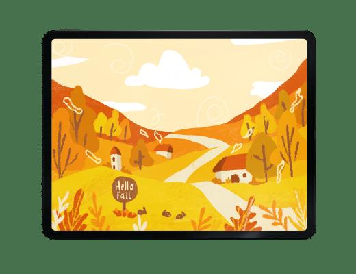 fall illustration, fall landscape, adobe fresco, autumn