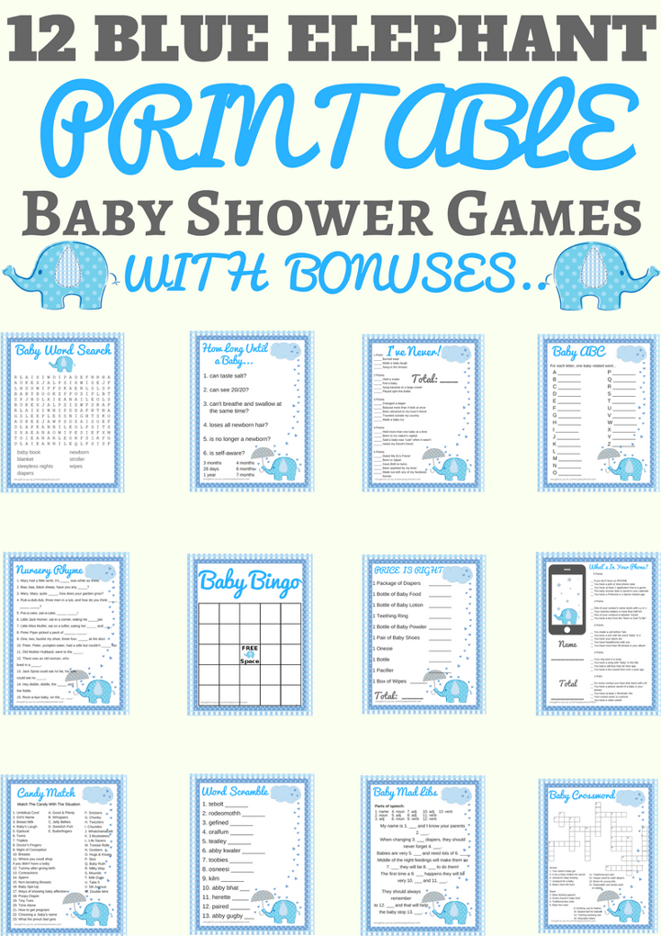 Blue Elephant Baby Shower Printable Games