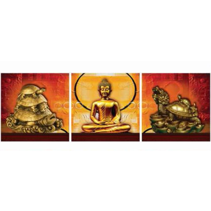 Buddha and turtle metal statues canvas wall art,