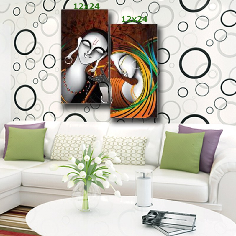 Radha next to Krishna canvas wall art