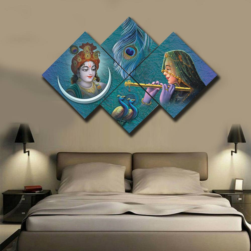 Radha Playing Krishna?s Flute Canvas Wall D?cor - PMS4AP-00009107 - Buy  Online