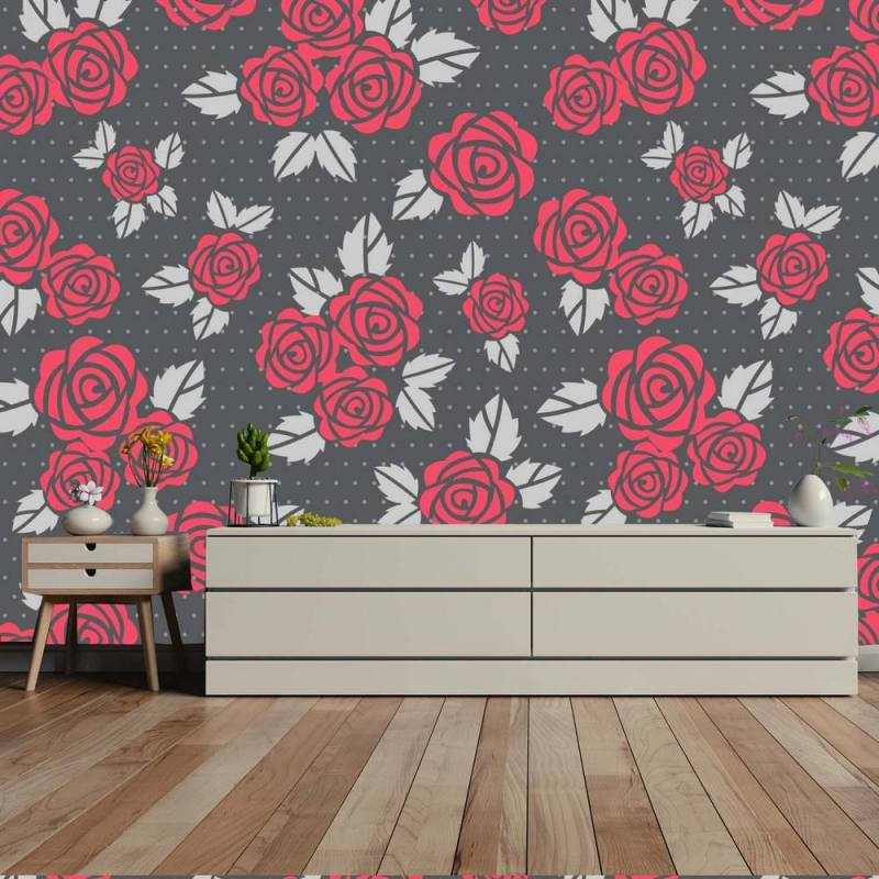 Buy Red Roses With Gray Leaves Wallpaper 1