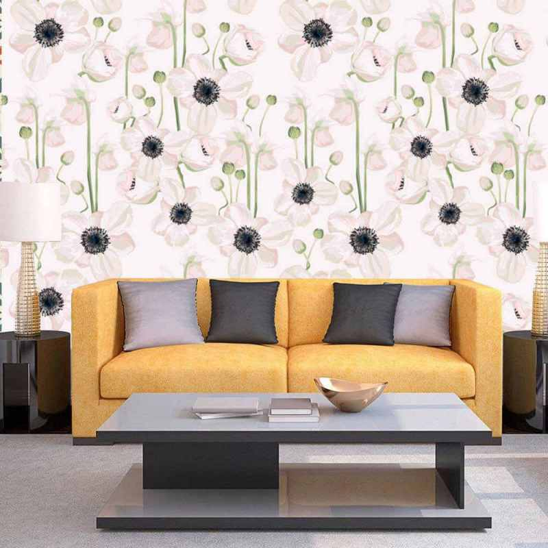 White Floral Pattern With Black Stamens Wall Covering, Tapete 1