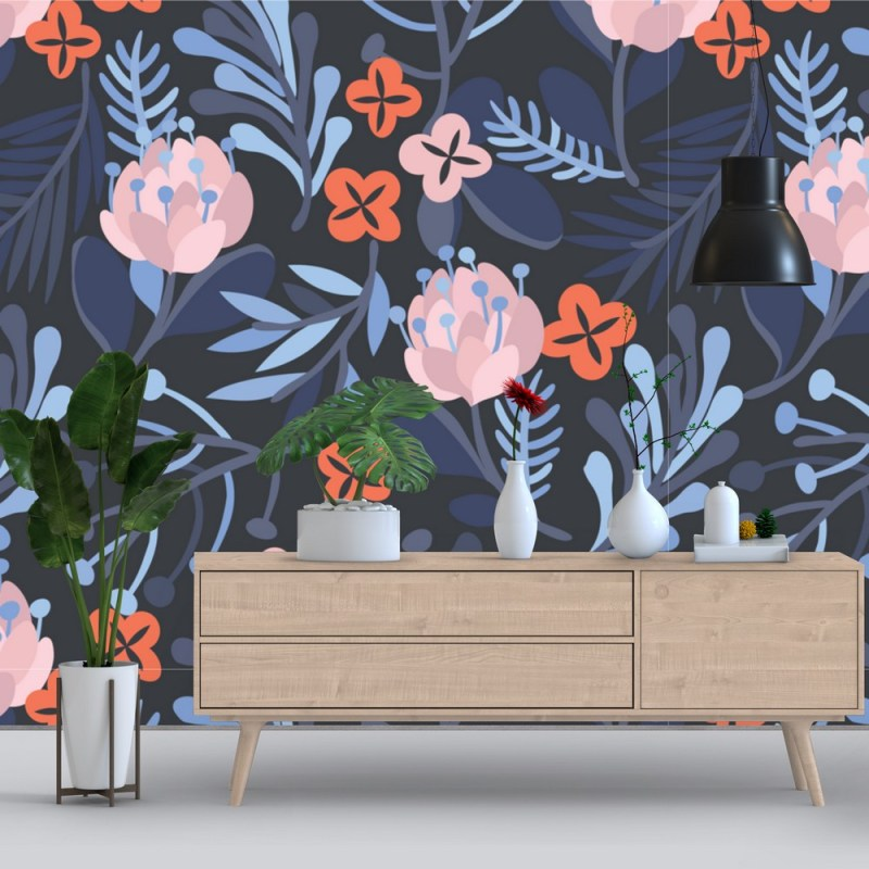 Buy Rosy Brown Floral Peel And Stick Wallpaper 1