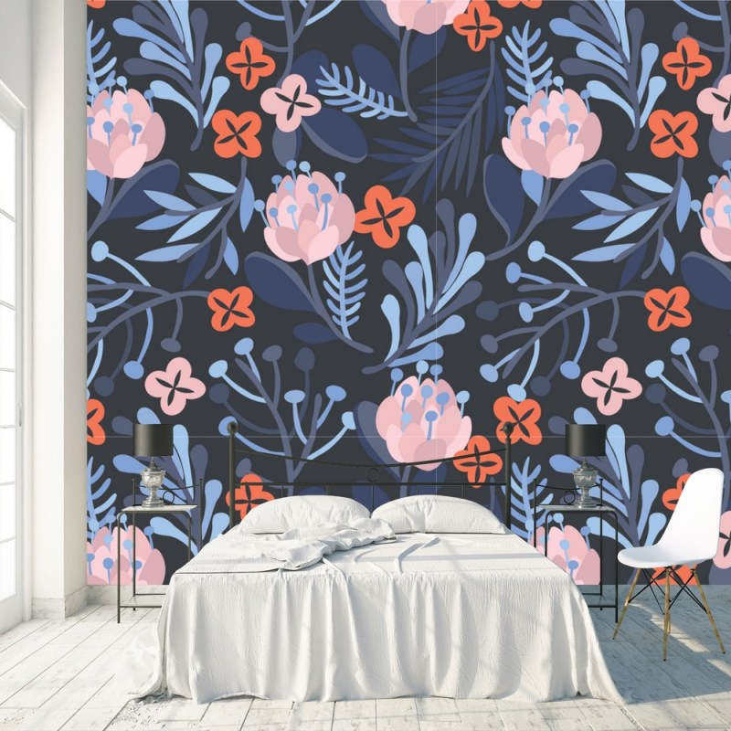 Buy Rosy Brown Floral Peel And Stick Wallpaper 2