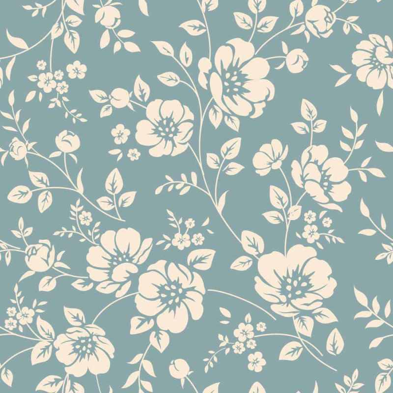 White And Teal Monochrome Floral Wallpaper Online 2