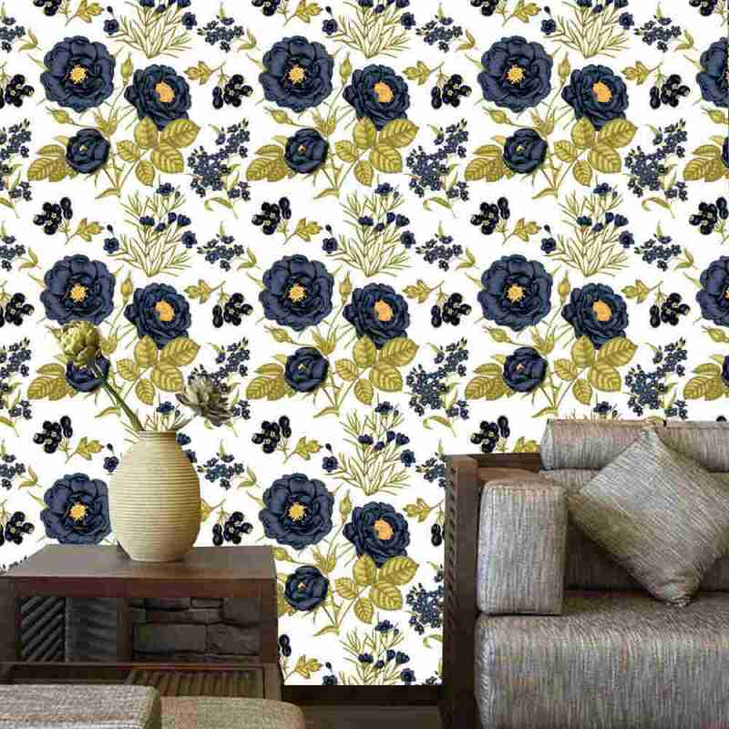 Blue Floral Pattern Peel And Stick Floral Wallpaper 1