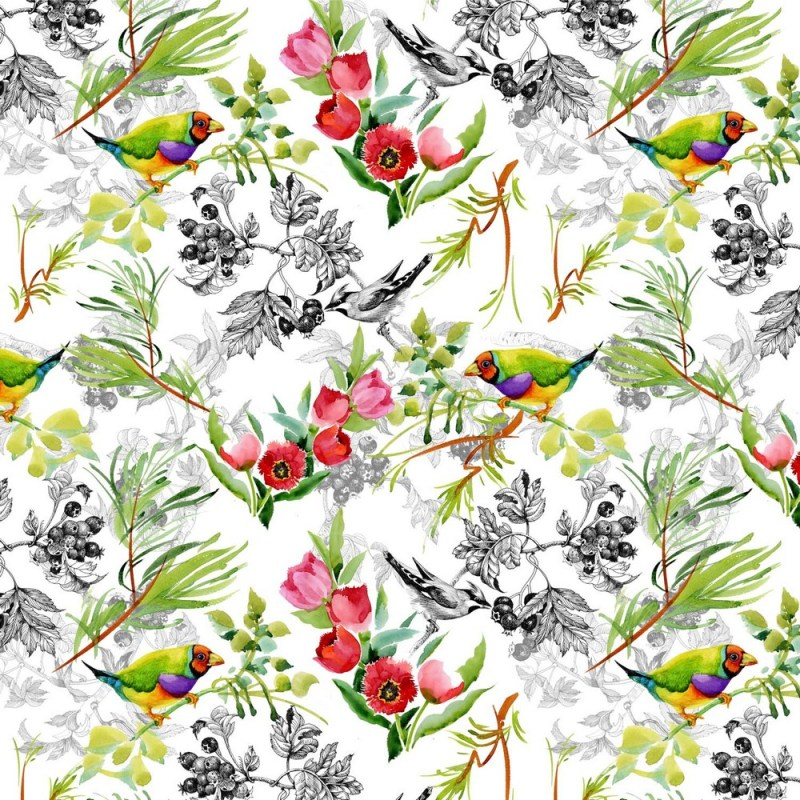 Buy Birds With Red Flowers Wallpaper 3