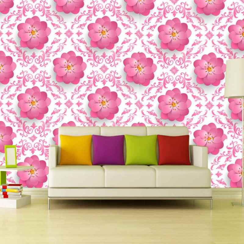 Buy Removable Wallpaper Online With Pink Floral Motif 1