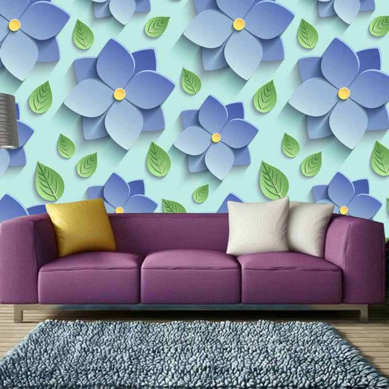 Buy Removable Wallpaper Online With Blue Floral Motif 1
