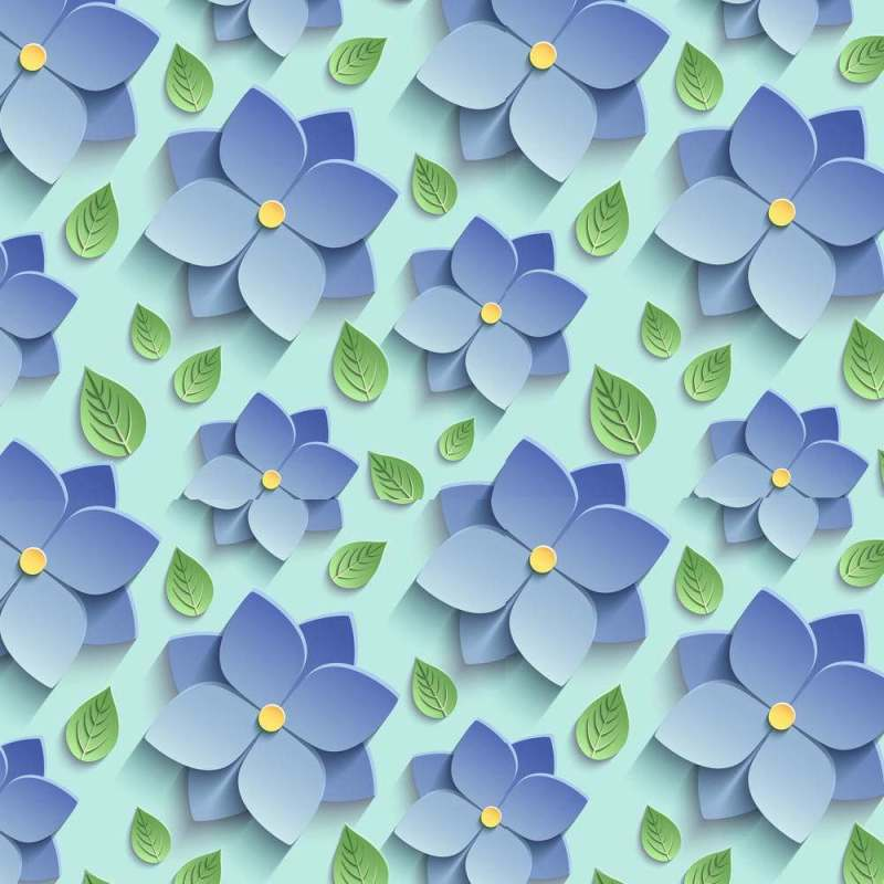 Buy Removable Wallpaper Online With Blue Floral Motif 2