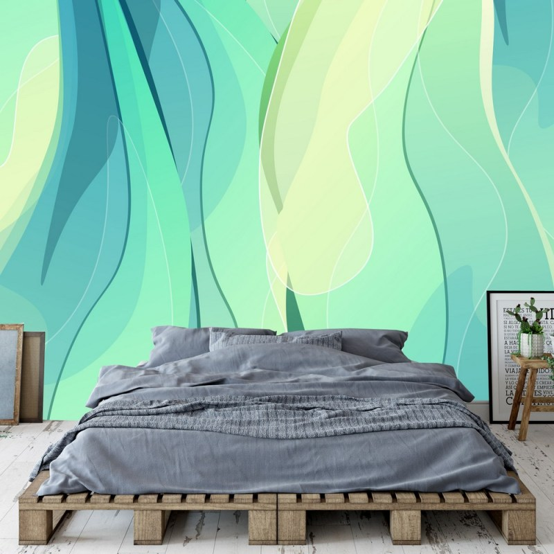 Aquamarine Artistic Wavy Pattern Wallpaper 1
