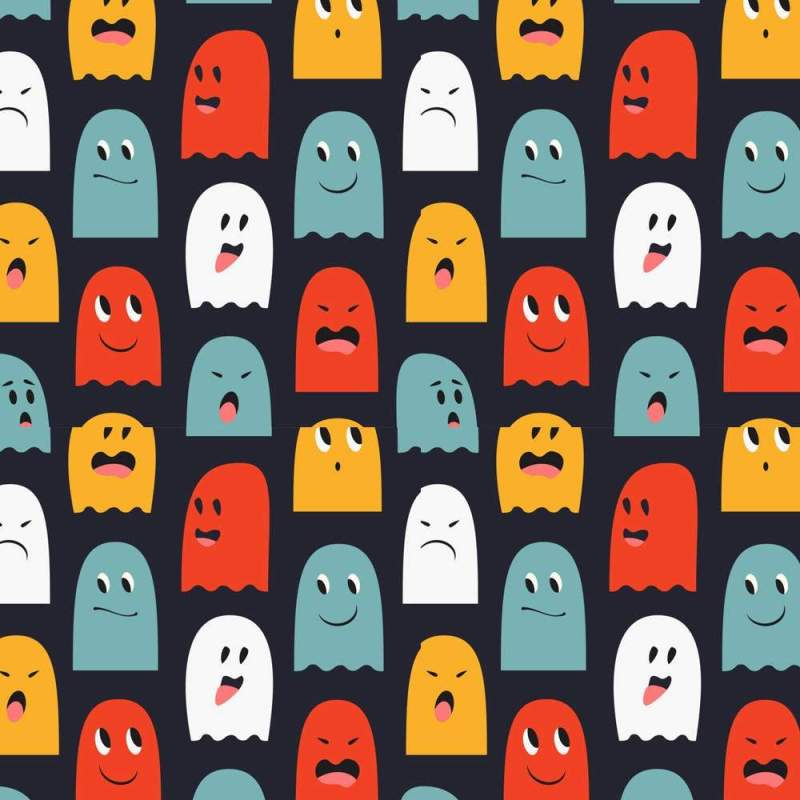 Kids Wallpaper Of Colorful Ghost Motifs On Royal Blue 2