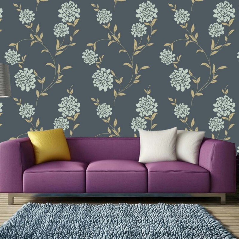 Grey Floral Removable Wallpaper 2