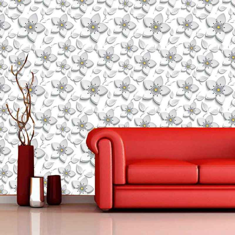 Buy Wallpaper Online With Grey Floral Motif 1