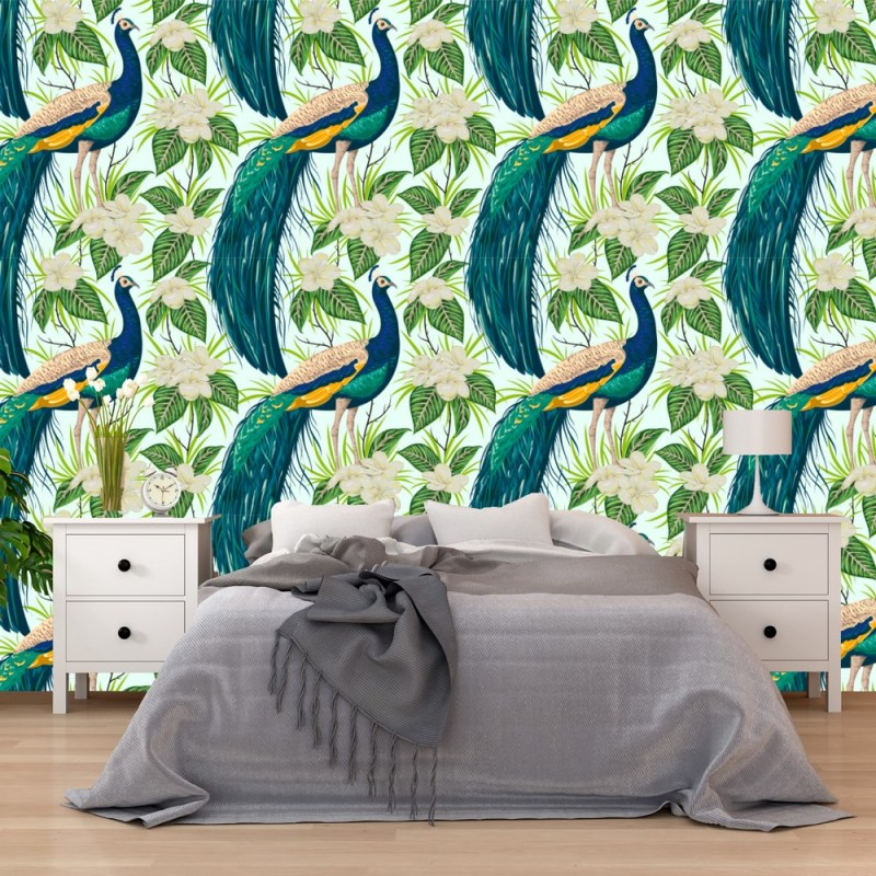 Painted Peacock Removable Wallpaper 1
