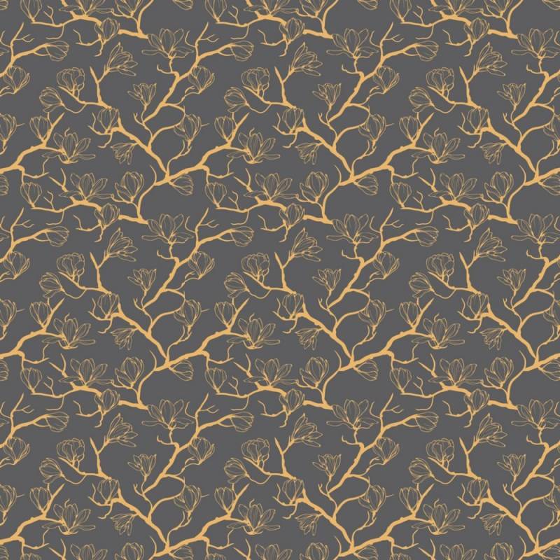 Buy Golden Magnolia Flower Pattern Wallpaper 2