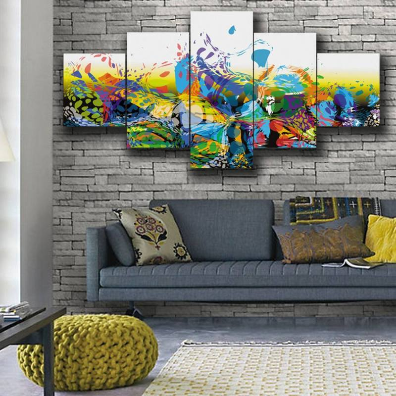 Green and blue brush stroke canvas wall art, 5 Panel Art 1