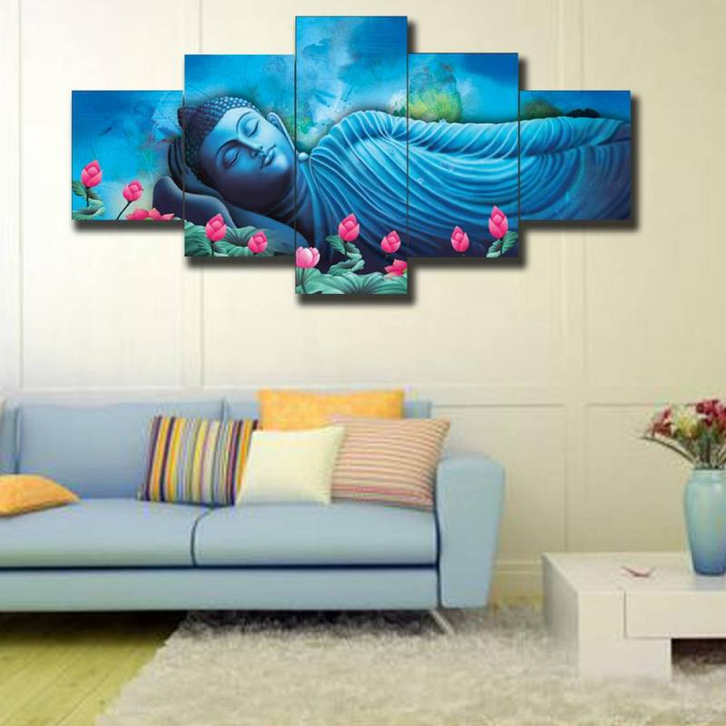 Resting Blue Buddha Canvas Wall Art - 5 Panel 1