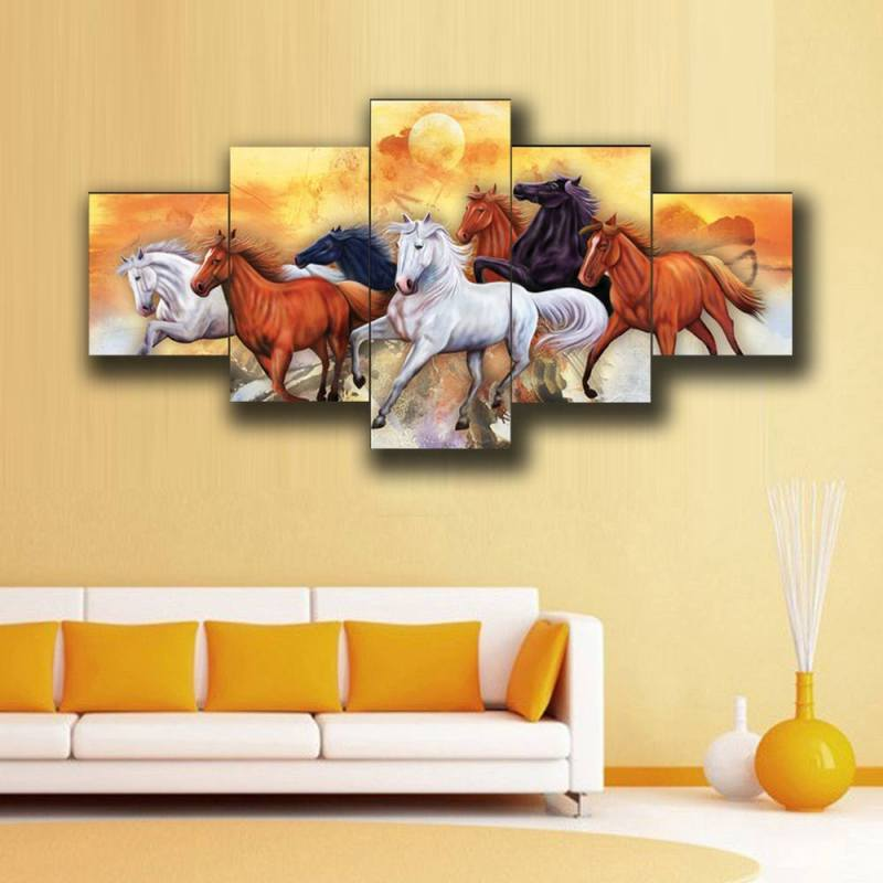 Brown, Black and white horses canvas wall art, 5 Panel Art 1