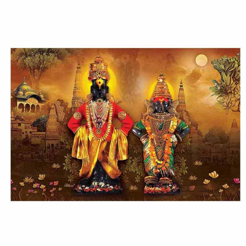 Buy Vitthal-Rukmini in Brown wall design | Print My Space JDAPR-00008340 2