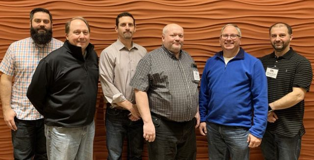 The judges of the combined corrugated category of the 2019 FTA Excellence in Flexography Awards. From left: Kevin Krause, Great Northern Corp; Rick Pomerenka, Printron; Jason Rhyne, SGS; Ed Trainor, International Paper; Doug Weiss, Kodak; Claude Gaudet, Master Packaging Inc