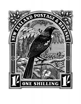 Historical NZ Stamp Print Tui New Zealand Fine Prints