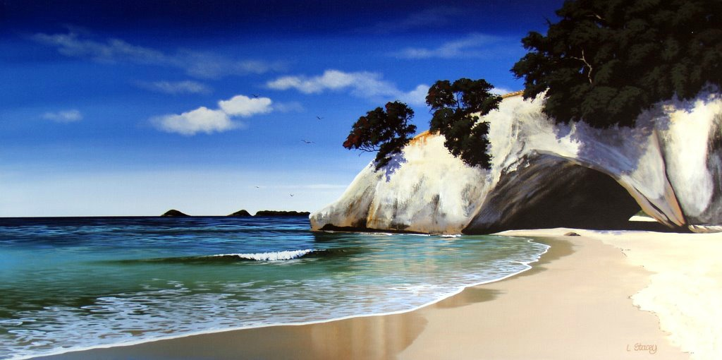 Cathedral Cove Print On Canvas By Linelle Stacey New