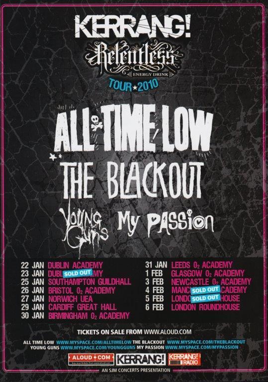 all time low kerrang 2010 uk tour poster