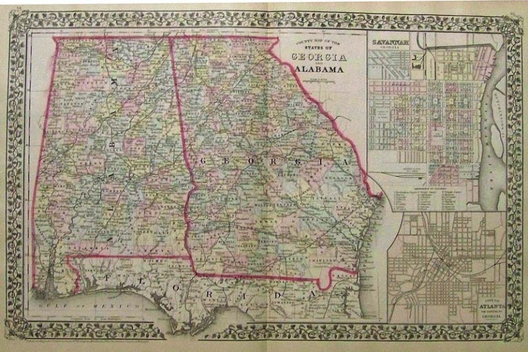 Prints Old   Rare   Georgia   Antique Maps   Prints 1879 Mitchell s original hand colored County Map of the States of Georgia  and Alabama  with insets on right of Savannah  Georgia and the City of  Atlanta