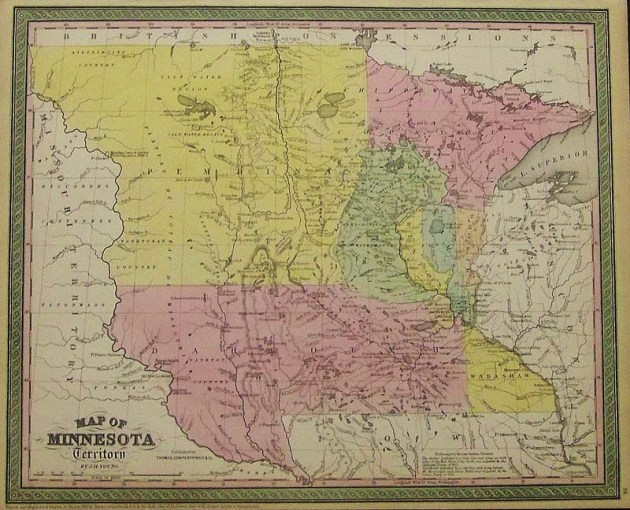 Prints Old   Rare   Minnesota   Antique Maps   Prints 1850 Cowperthwait hand colored Map of Minnesota Territory which also shows  future Dakotas  17 x 13 1 2 in   400