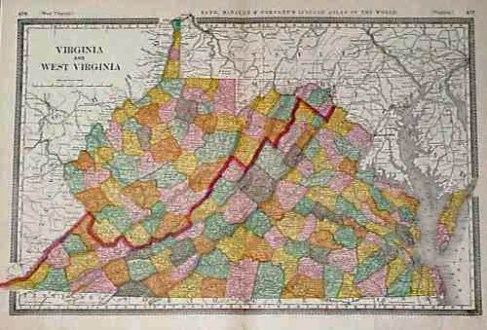 Prints Old   Rare   West Virginia   Antique Maps   Prints 108wv  1887 Map of Virginia  West Virginia  Attractive map  with each  county colored separately  Shows cities  towns  railroad lines and  geographical
