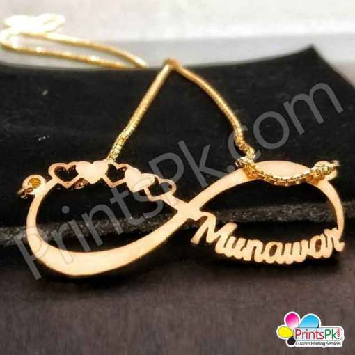 Munawar Name locket, infinity love sign, necklace,