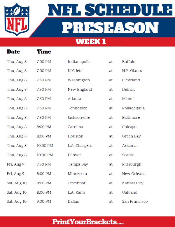 Printable 2018 NFL Preseason Schedule