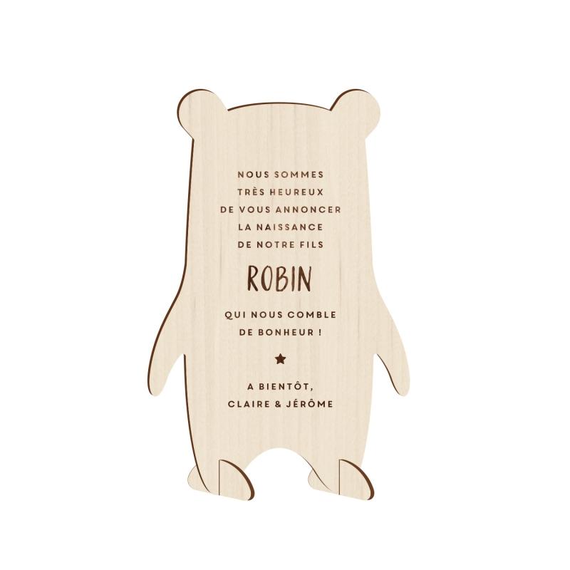 faire part naissance ours en bois