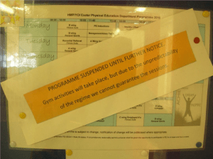 Notice found during an inspection of HMP Exeter