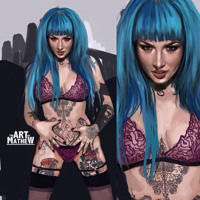 Art of Mathew_ Ilustracoes Cheias de Tatuagens e Cores 09