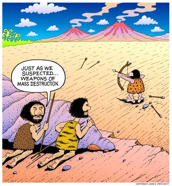 Weapons of Mass Destruction cartoon, history, prehistoric weapons inspectors, international, political, historical, editorial cartoons by cartoonist John Pritchett