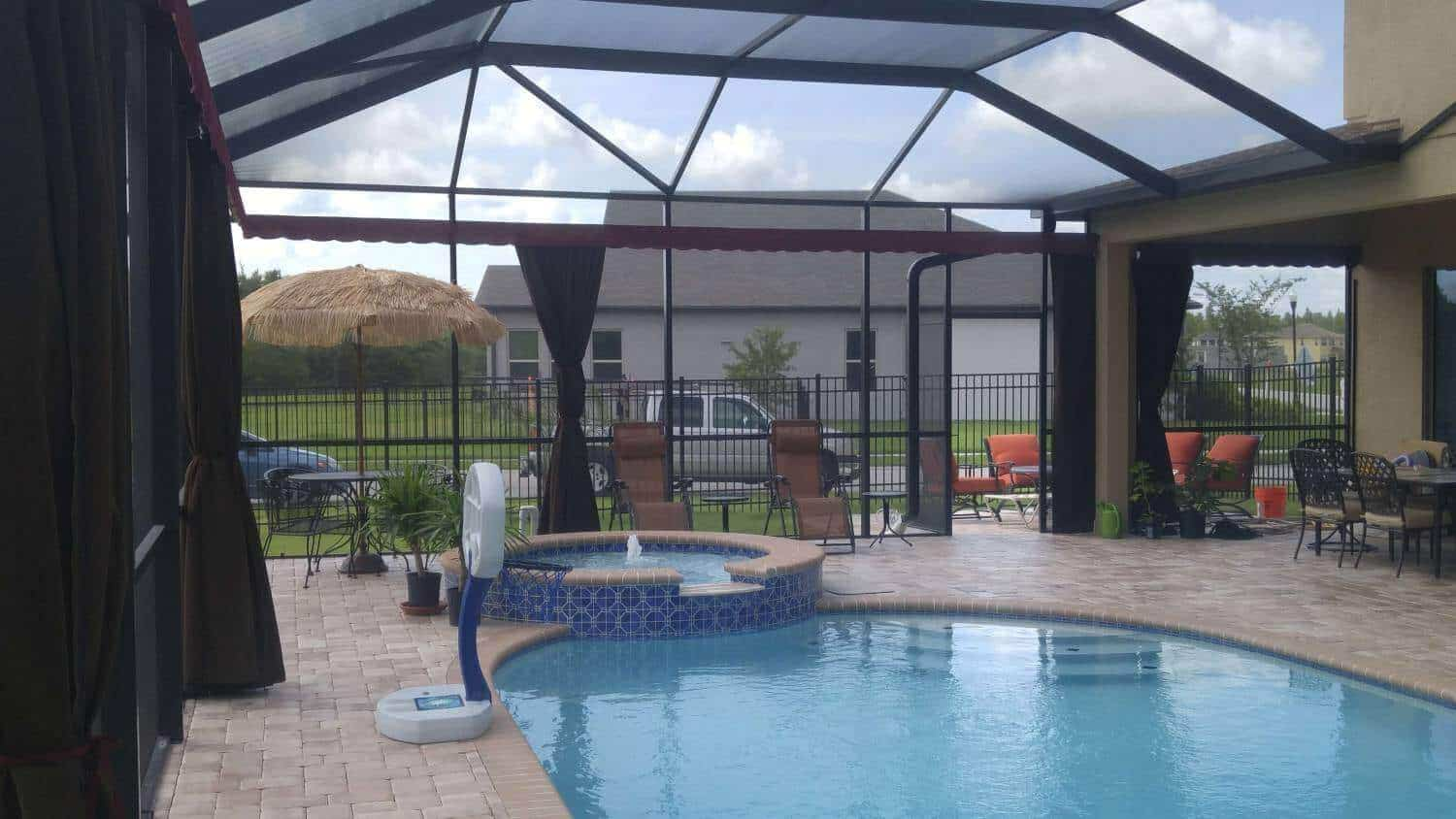Privacy Outdoor Installed With Privacy Curtains In Swimming Pool And Patio