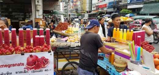 Mała firma, sprzedawca soków, Chinatown, Bangkok
