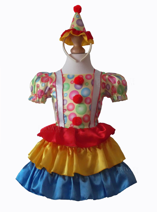 Girls Cute Clown Fancy Dress Costume, Circus, Book Day, Halloween Age 2-3 years
