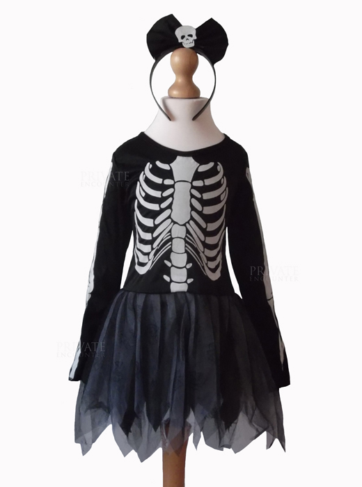 Halloween Costumes For Girls Scary.Girls Scary Skeleton Bones Halloween Fancy Dress Costume Horror Day Of The Dead Age 7 9 Years