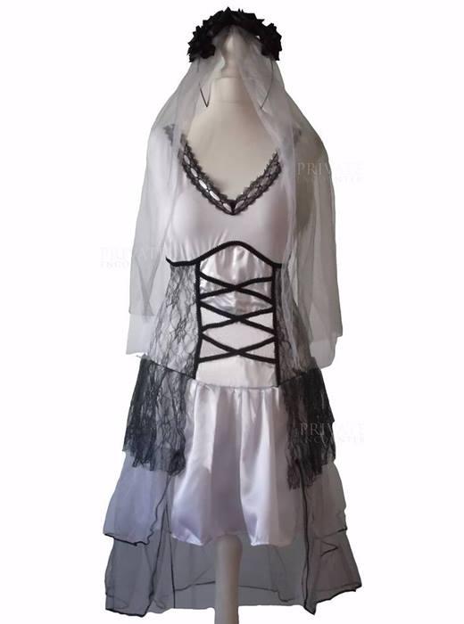 07c02e9c6f3 Adult Sally Corpose Gothic Bride Zombie Halloween Fancy dress Costume
