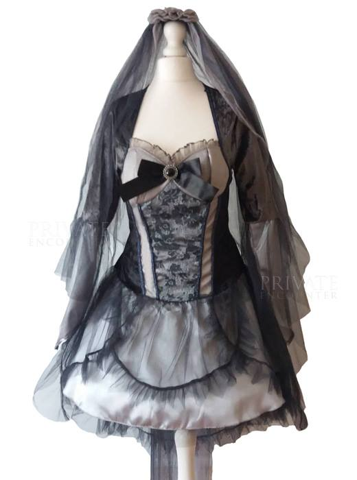 Adult Grey Silver Gothic Ghost Bride Zombie Vampire Halloween Fancy dress Costume