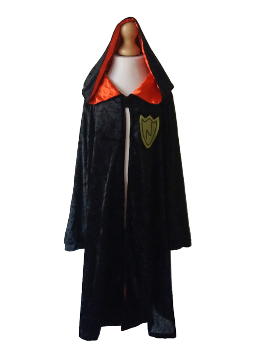 Childs Black Wizard Cloak Fancy Dress Costume, Halloween, World Book Day Age 7-8-9 years
