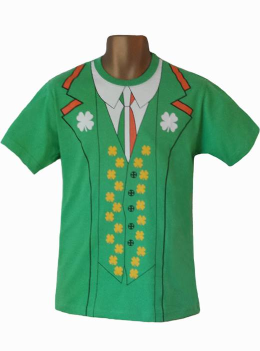Unisex Green Irish Shamrock St. Patricks Day T-Shirt Fancy Dress