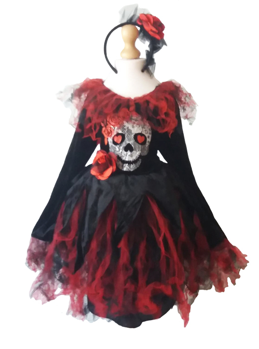 Girls Day of the Dead Skull Fancy Dress Costume. Halloween Age 7-8 years