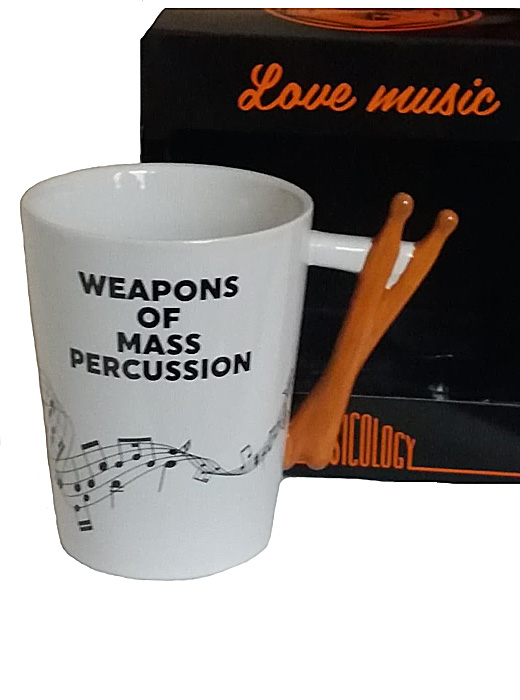 'Weapons of Mass Percussion' Drumsticks Novelty Tea Coffee Mug, Music Drummer Gift