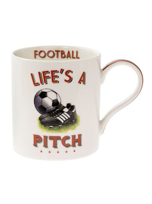 'Life's A Pitch' Football Novelty Tea, Coffee Boxed Mug, Sports Gift, Present
