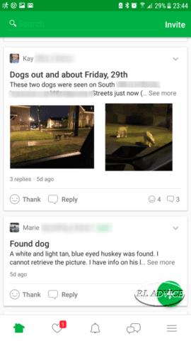 Loose dogs Nextdoor app